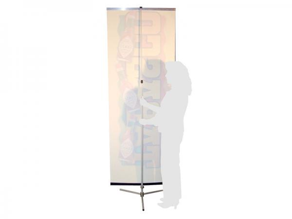 SPRINT Telescopic Banner Stand - Back View - Silver