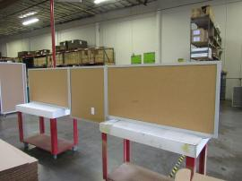 (2) Office Safety Dividers with Engineered Aluminum Frame and Clear Plex Infill (shown with protective paper)