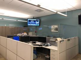 Cubicle Height Extenders with Clear Acrylic Inserts on Traditional Office Cubicles -- Image 1